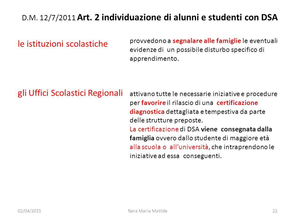 D.M. 12/7/2011 Art. 2 individuazione di alunni e studenti con DSA