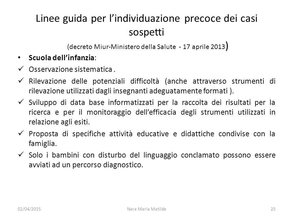 Linee guida per l'individuazione precoce dei casi sospetti (decreto Miur-Ministero della Salute - 17 aprile 2013)