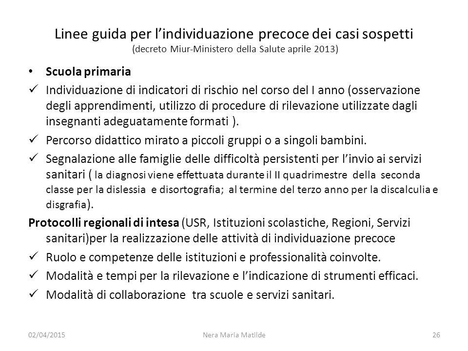 Linee guida per l'individuazione precoce dei casi sospetti (decreto Miur-Ministero della Salute aprile 2013)