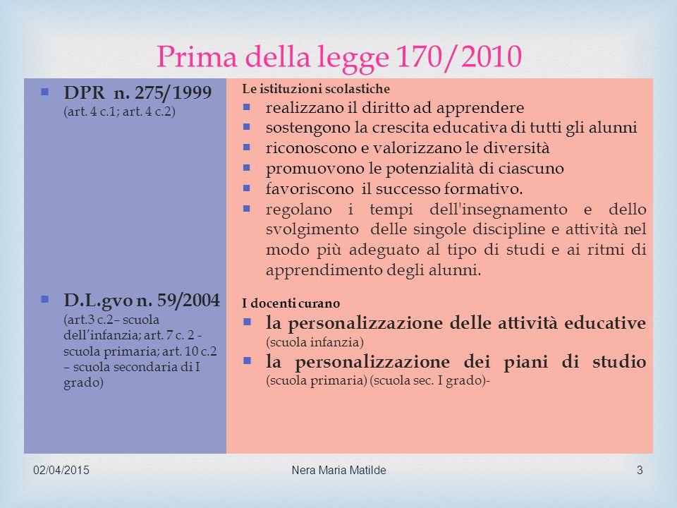 Prima della legge 170/2010 DPR n. 275/ 1999 D.L.gvo n. 59/2004