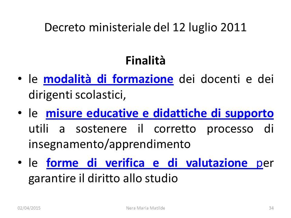 Decreto ministeriale del 12 luglio 2011