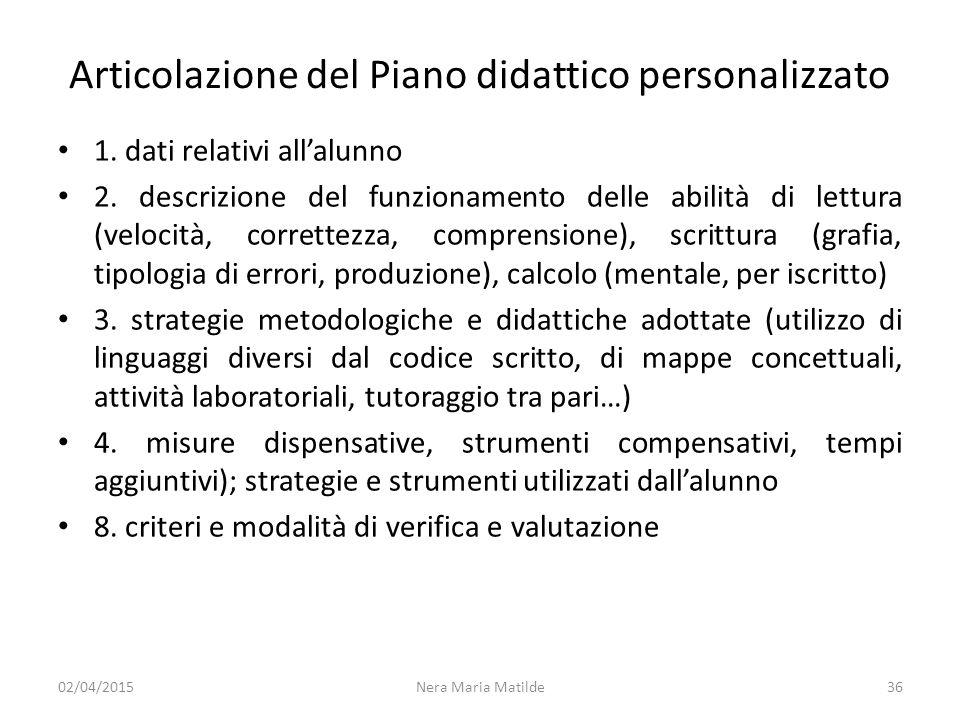 Articolazione del Piano didattico personalizzato