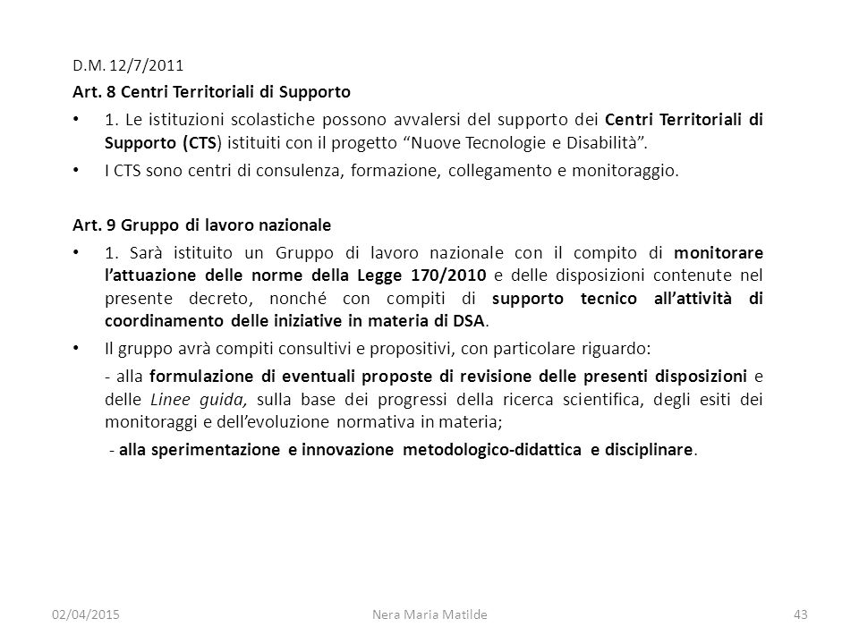 Art. 8 Centri Territoriali di Supporto