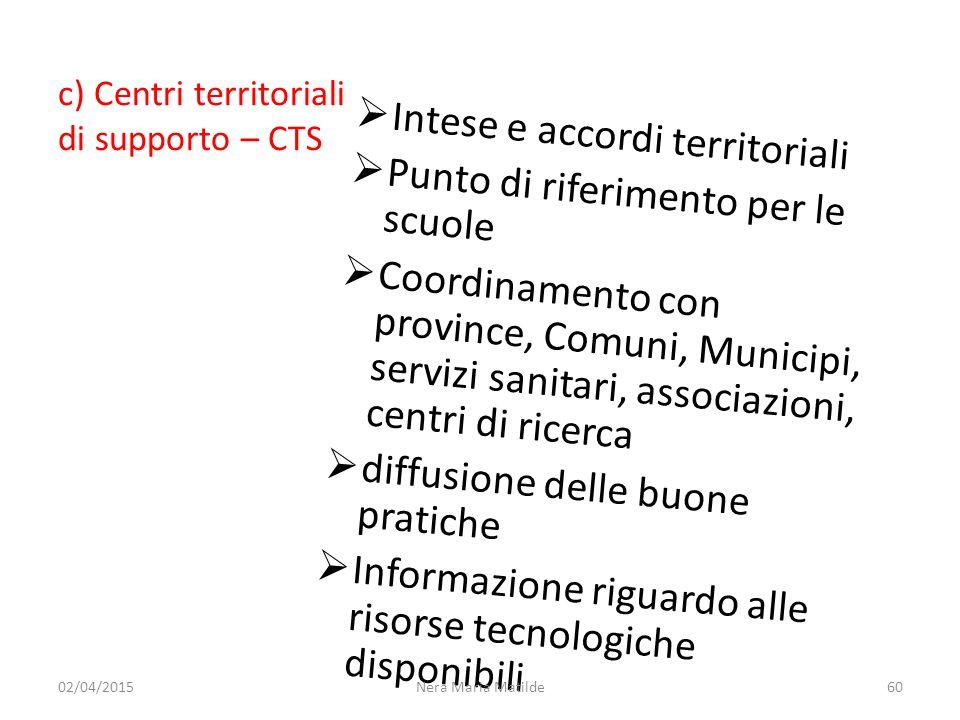 Intese e accordi territoriali Punto di riferimento per le scuole