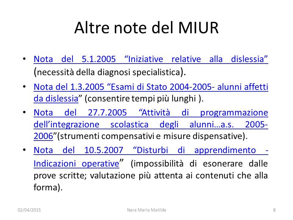 Altre note del MIUR Nota del 5.1.2005 Iniziative relative alla dislessia (necessità della diagnosi specialistica).