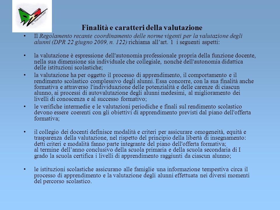 Finalità e caratteri della valutazione