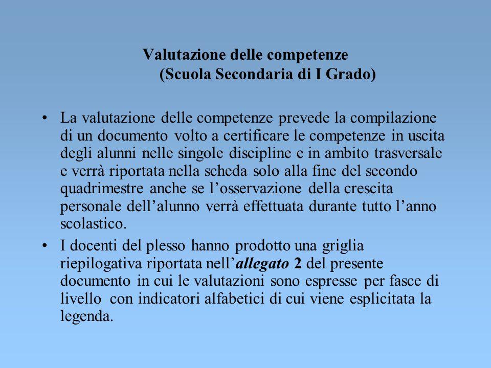 Valutazione delle competenze (Scuola Secondaria di I Grado)