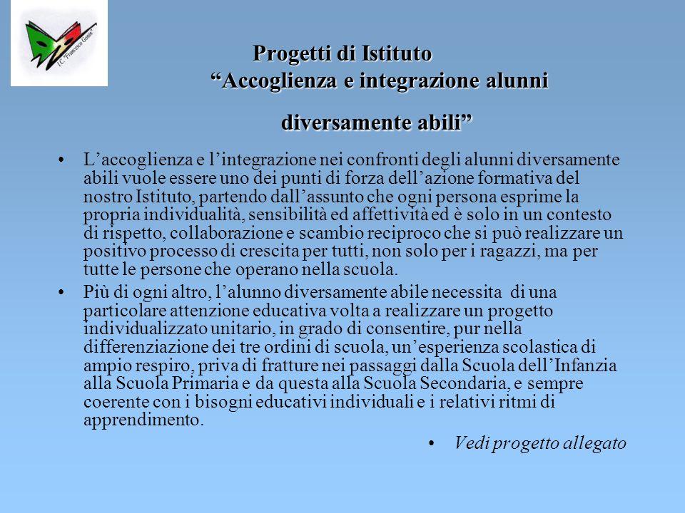 Progetti di Istituto Accoglienza e integrazione alunni diversamente abili