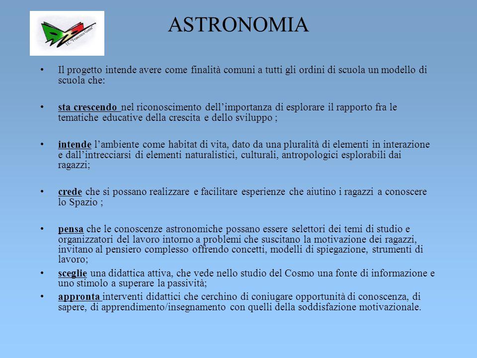 ASTRONOMIA Il progetto intende avere come finalità comuni a tutti gli ordini di scuola un modello di scuola che: