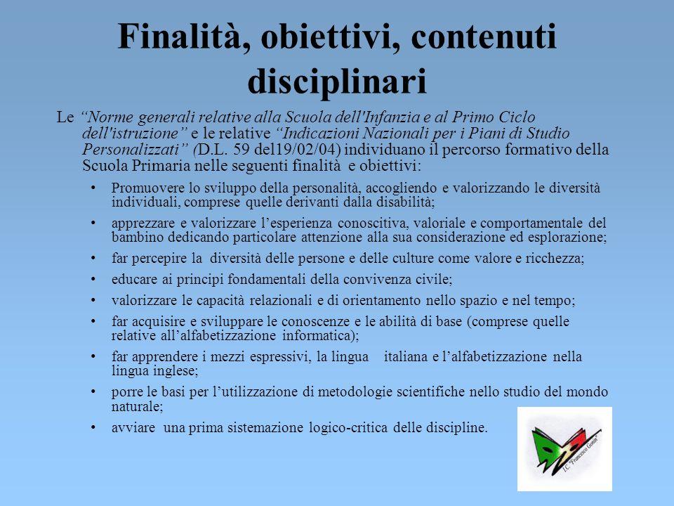Finalità, obiettivi, contenuti disciplinari