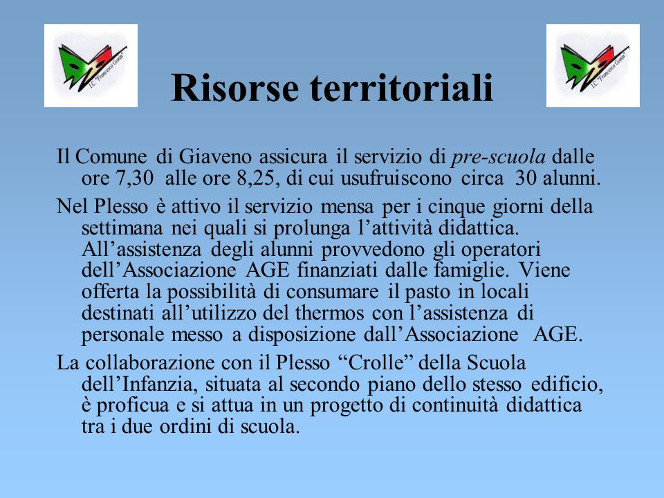 Risorse territoriali Il Comune di Giaveno assicura il servizio di pre-scuola dalle ore 7,30 alle ore 8,25, di cui usufruiscono circa 30 alunni.