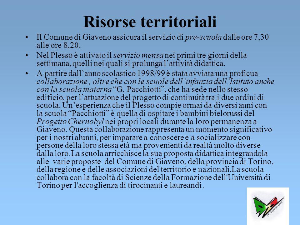 Risorse territoriali Il Comune di Giaveno assicura il servizio di pre-scuola dalle ore 7,30 alle ore 8,20.
