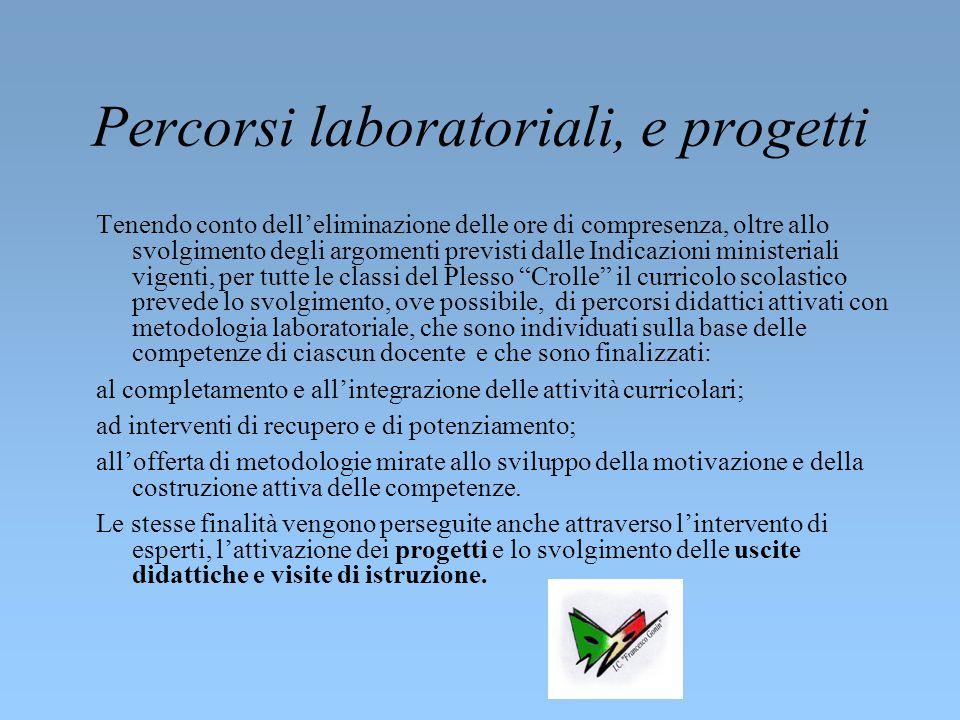 Percorsi laboratoriali, e progetti