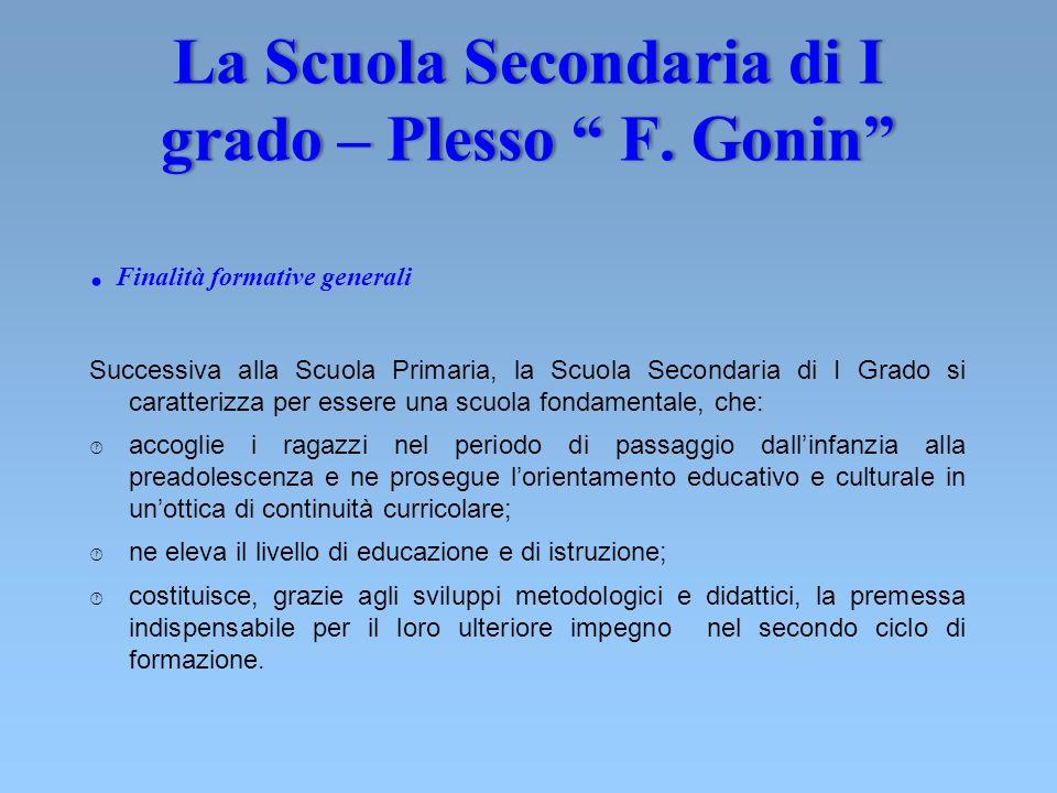 La Scuola Secondaria di I grado – Plesso F. Gonin