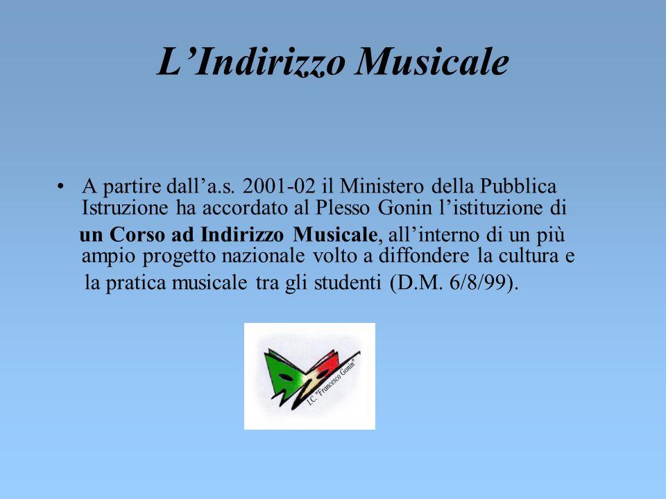 L'Indirizzo Musicale A partire dall'a.s. 2001-02 il Ministero della Pubblica Istruzione ha accordato al Plesso Gonin l'istituzione di.