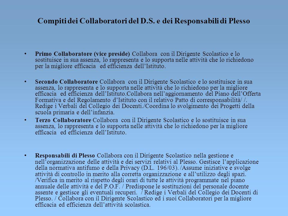 Compiti dei Collaboratori del D.S. e dei Responsabili di Plesso