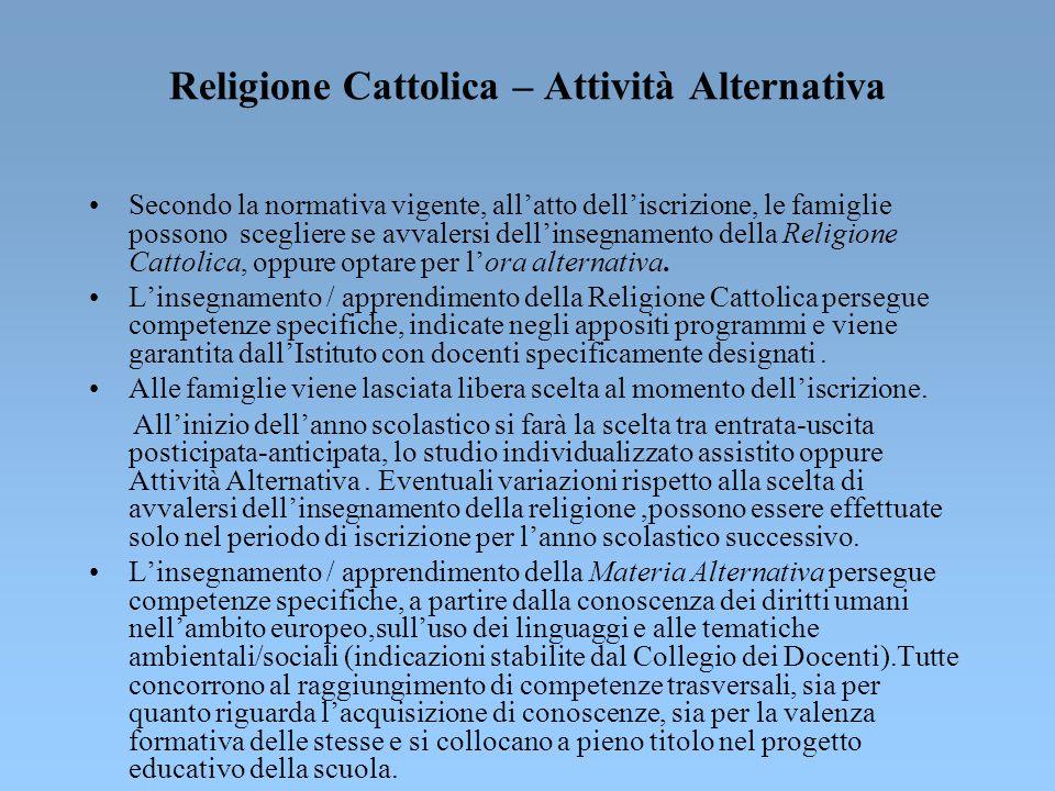 Religione Cattolica – Attività Alternativa