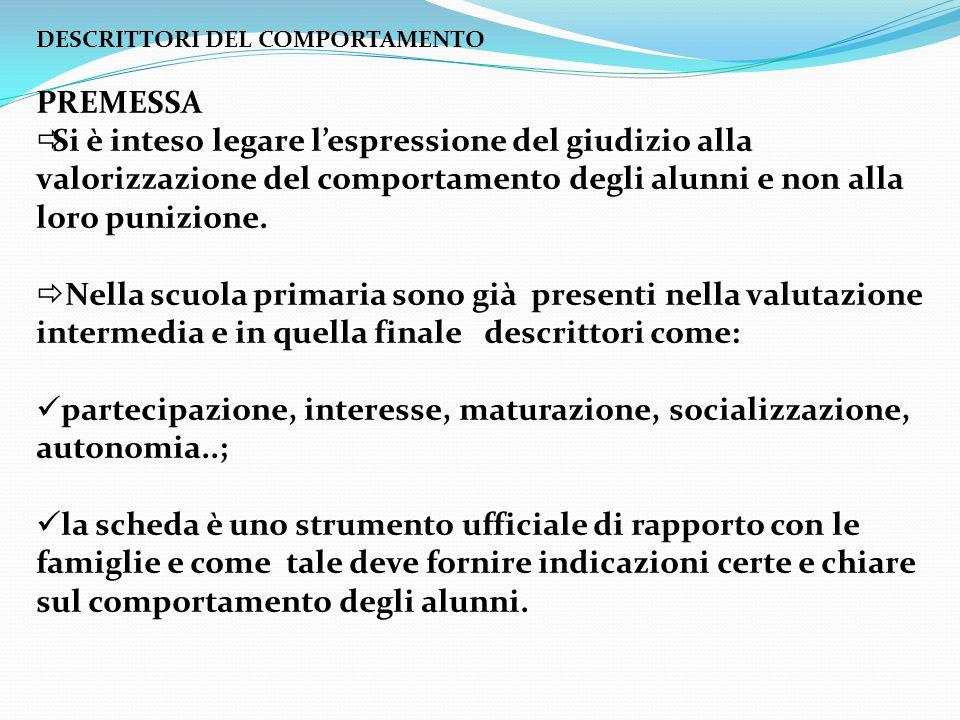 partecipazione, interesse, maturazione, socializzazione, autonomia..;
