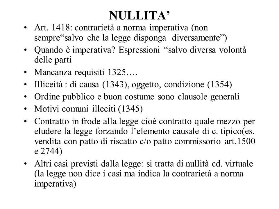 NULLITA' Art. 1418: contrarietà a norma imperativa (non sempre salvo che la legge disponga diversamente )