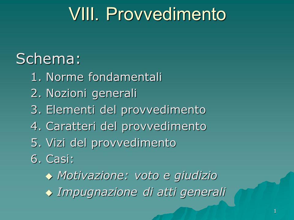 VIII. Provvedimento Schema: 1. Norme fondamentali 2. Nozioni generali