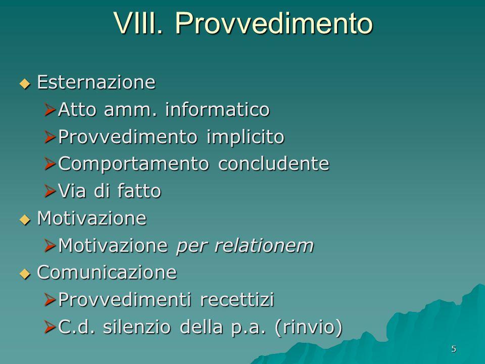 VIII. Provvedimento Esternazione Atto amm. informatico