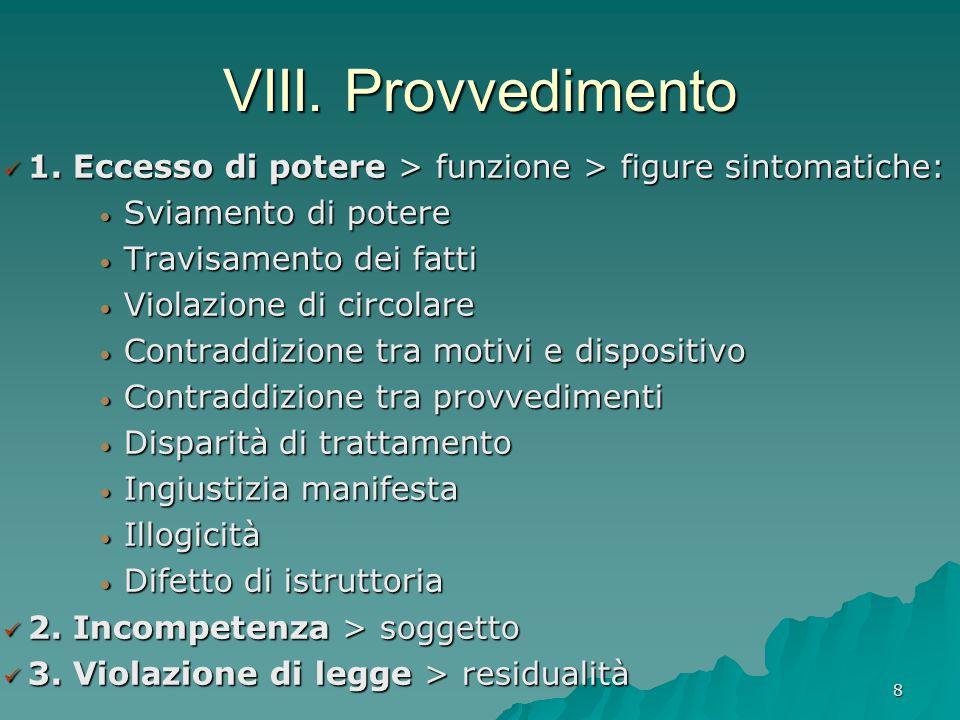 VIII. Provvedimento 1. Eccesso di potere > funzione > figure sintomatiche: Sviamento di potere. Travisamento dei fatti.