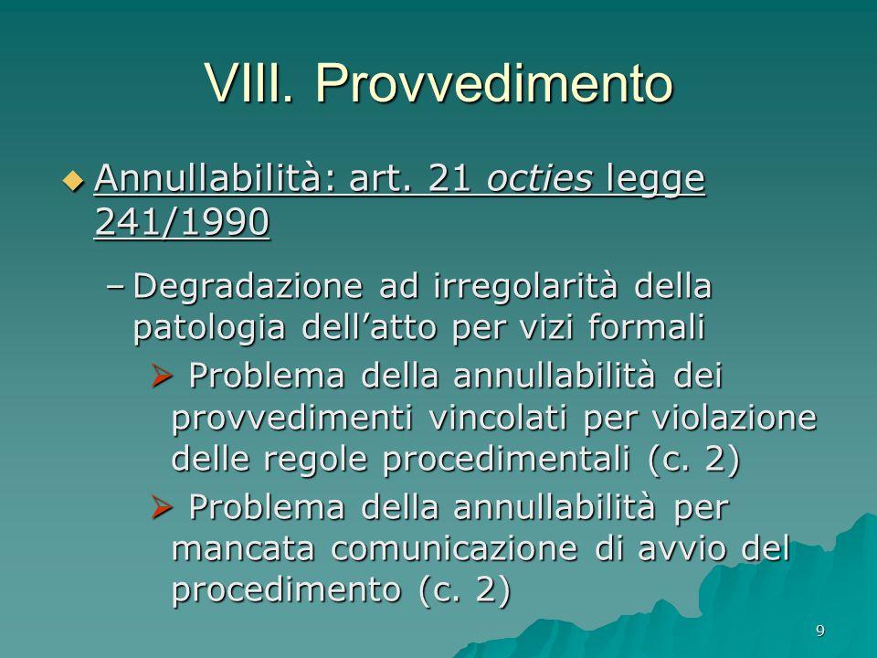 VIII. Provvedimento Annullabilità: art. 21 octies legge 241/1990