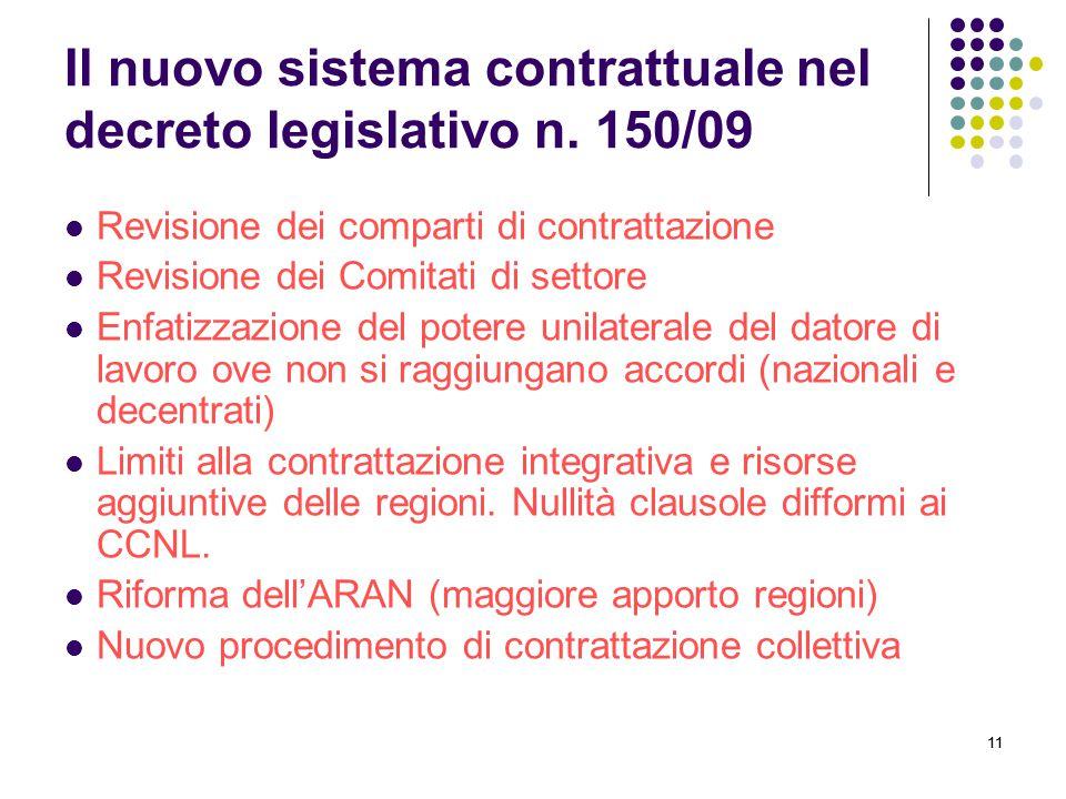 Il nuovo sistema contrattuale nel decreto legislativo n. 150/09
