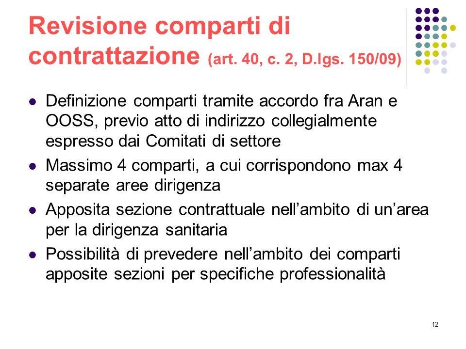 Revisione comparti di contrattazione (art. 40, c. 2, D.lgs. 150/09)