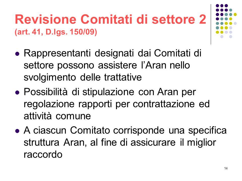 Revisione Comitati di settore 2 (art. 41, D.lgs. 150/09)