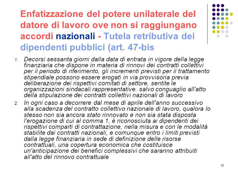 Enfatizzazione del potere unilaterale del datore di lavoro ove non si raggiungano accordi nazionali - Tutela retributiva dei dipendenti pubblici (art. 47-bis
