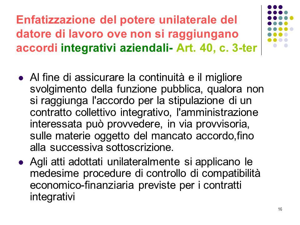 Enfatizzazione del potere unilaterale del datore di lavoro ove non si raggiungano accordi integrativi aziendali- Art. 40, c. 3-ter