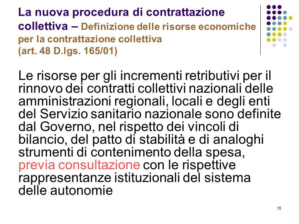 La nuova procedura di contrattazione collettiva – Definizione delle risorse economiche per la contrattazione collettiva (art. 48 D.lgs. 165/01)