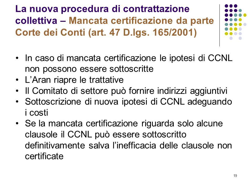 La nuova procedura di contrattazione collettiva – Mancata certificazione da parte Corte dei Conti (art. 47 D.lgs. 165/2001)