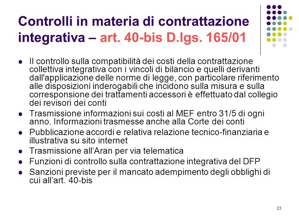 Controlli in materia di contrattazione integrativa – art. 40-bis D.lgs. 165/01