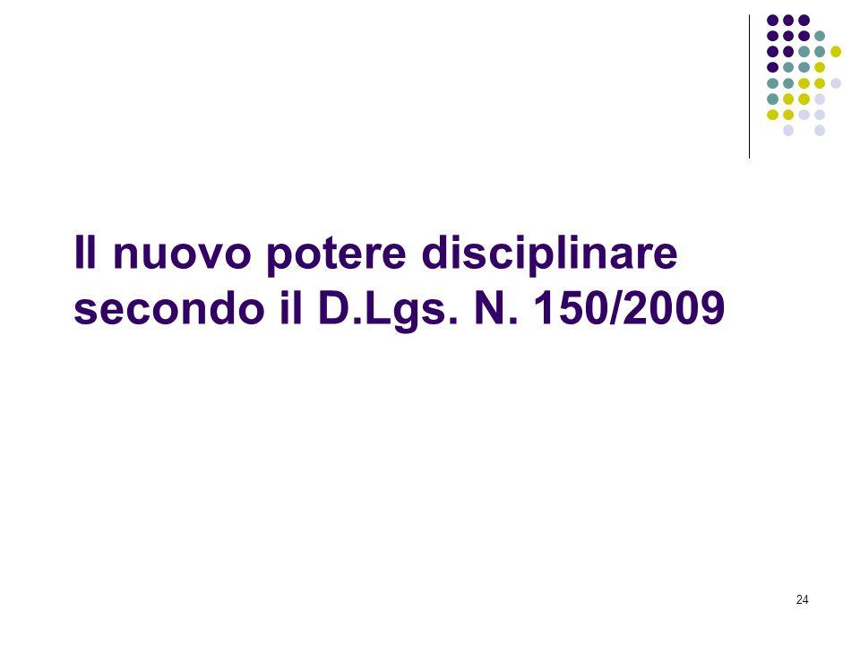 Il nuovo potere disciplinare secondo il D.Lgs. N. 150/2009