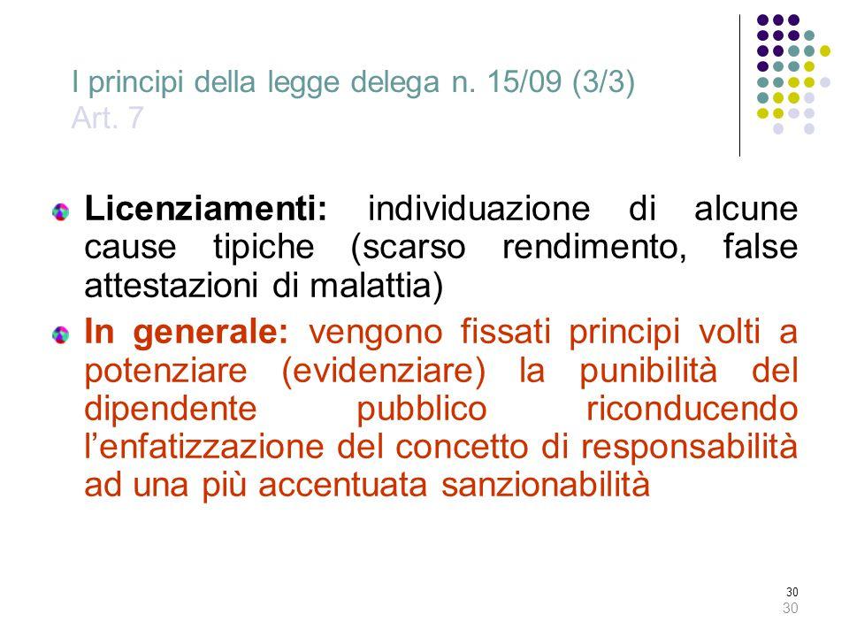 I principi della legge delega n. 15/09 (3/3) Art. 7