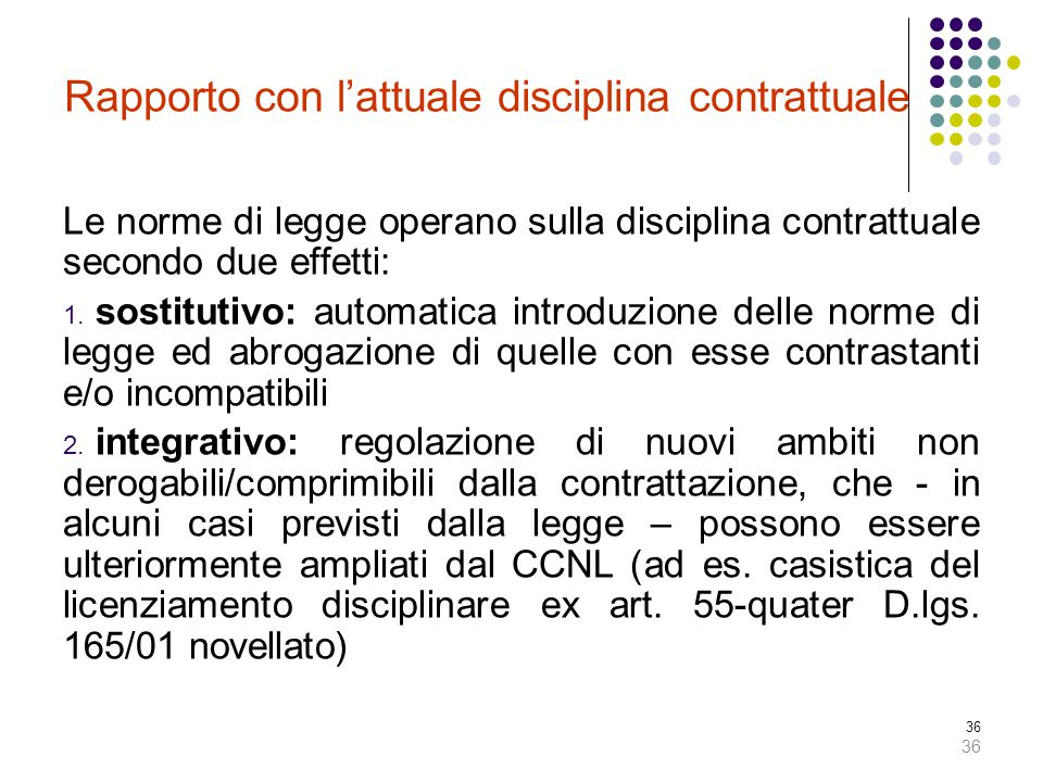 Rapporto con l'attuale disciplina contrattuale