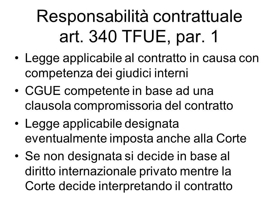 Responsabilità contrattuale art. 340 TFUE, par. 1