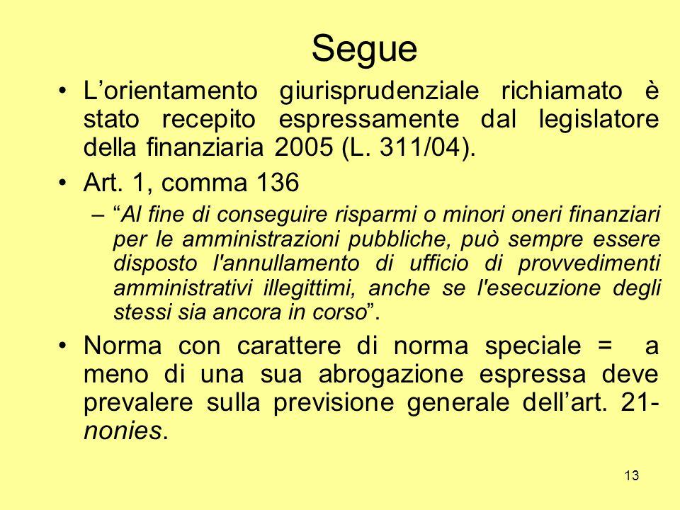 Segue L'orientamento giurisprudenziale richiamato è stato recepito espressamente dal legislatore della finanziaria 2005 (L. 311/04).