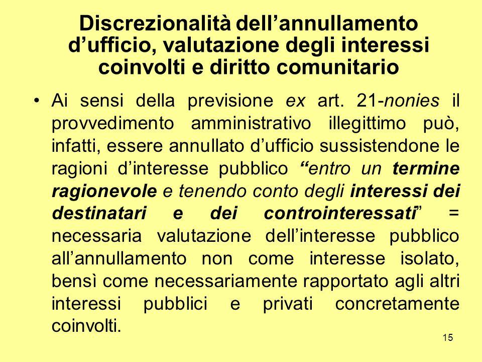 Discrezionalità dell'annullamento d'ufficio, valutazione degli interessi coinvolti e diritto comunitario