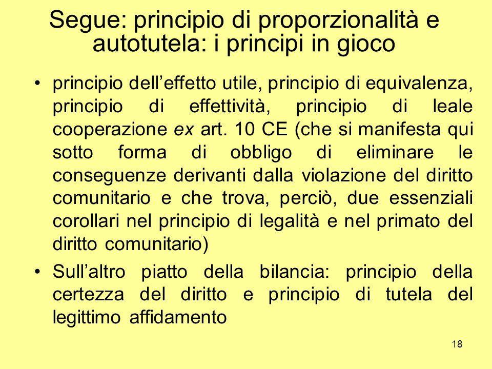 Segue: principio di proporzionalità e autotutela: i principi in gioco