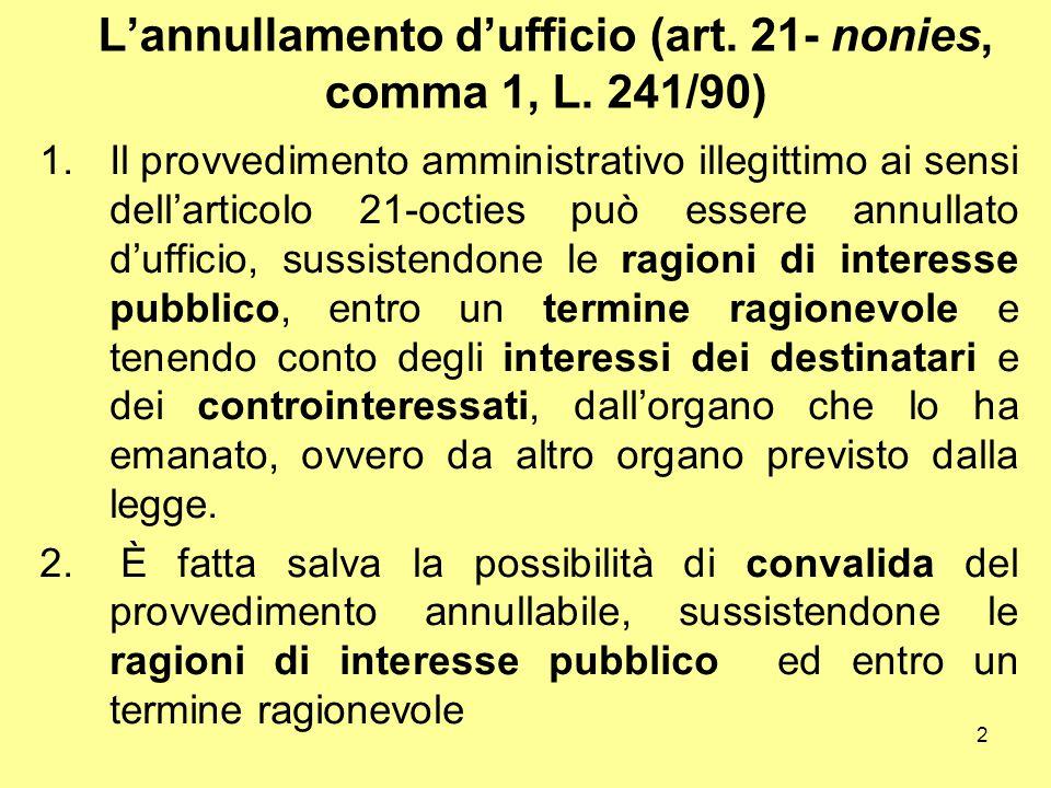 L'annullamento d'ufficio (art. 21- nonies, comma 1, L. 241/90)
