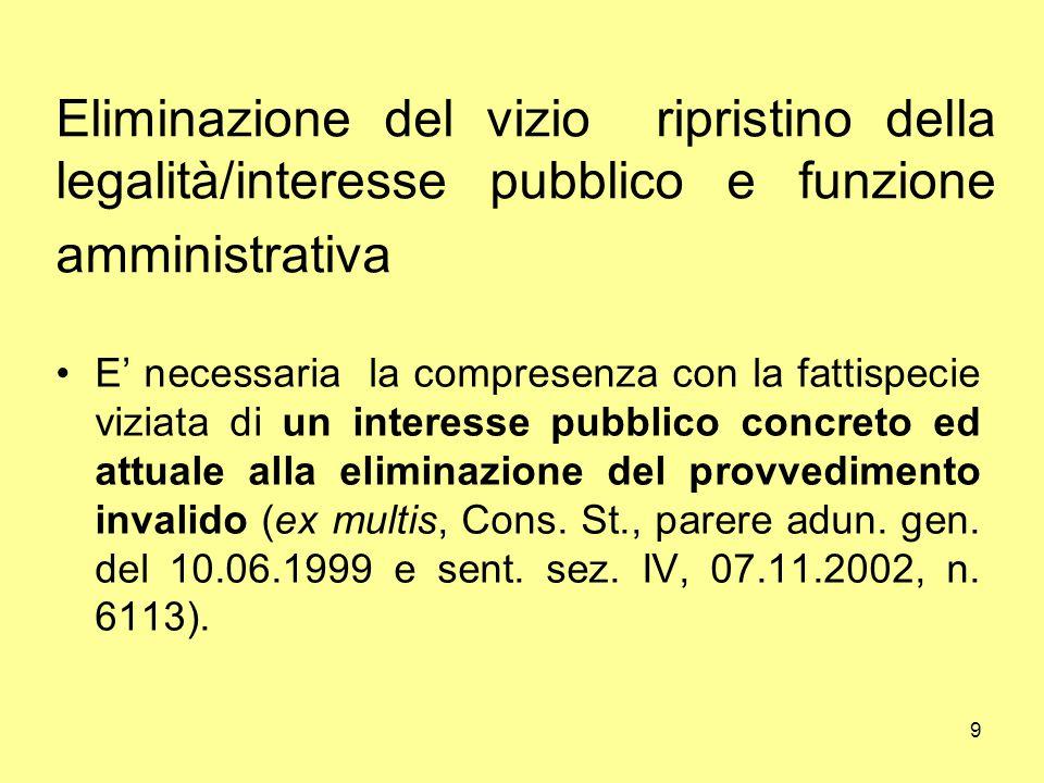 Eliminazione del vizio ripristino della legalità/interesse pubblico e funzione amministrativa