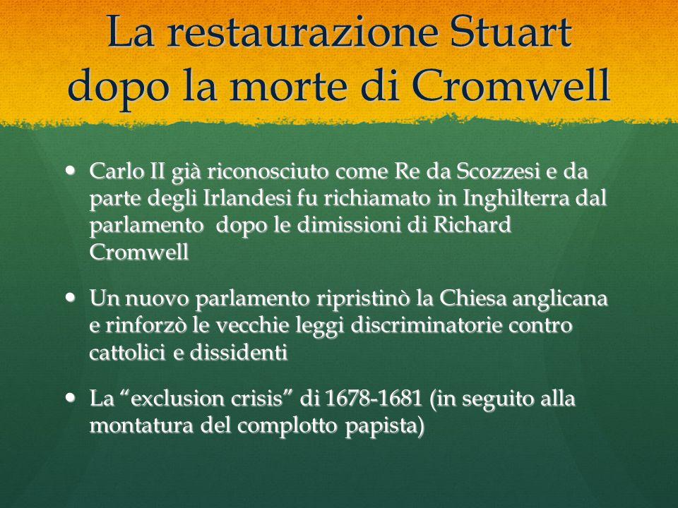 La restaurazione Stuart dopo la morte di Cromwell