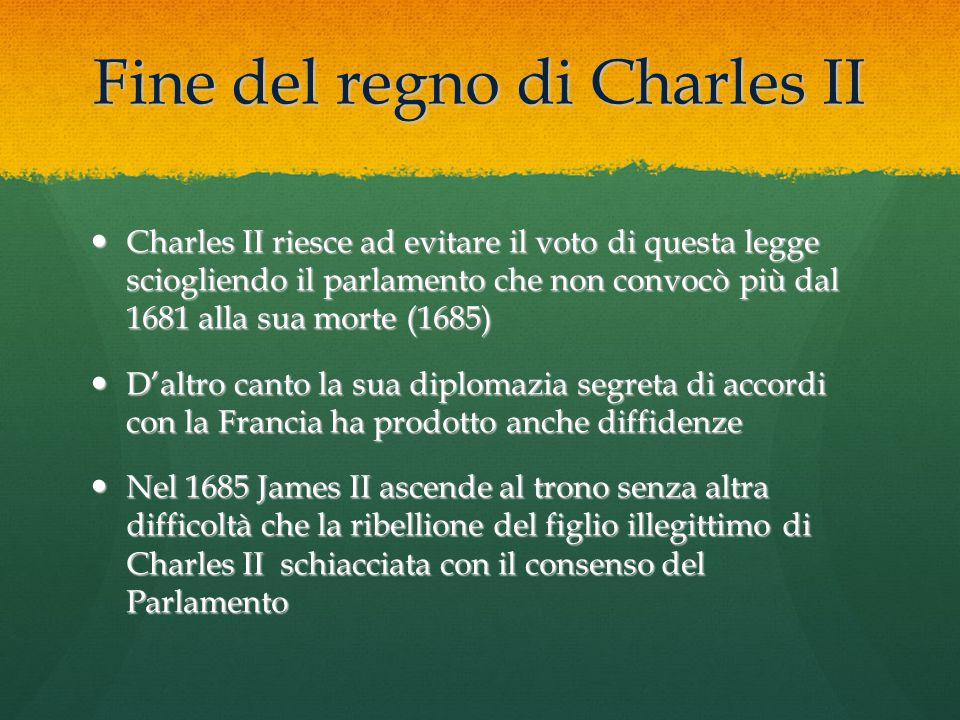 Fine del regno di Charles II