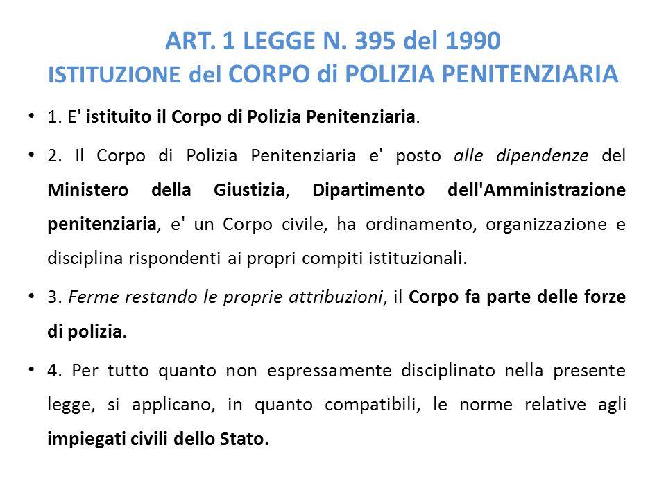 ART. 1 LEGGE N. 395 del 1990 ISTITUZIONE del CORPO di POLIZIA PENITENZIARIA