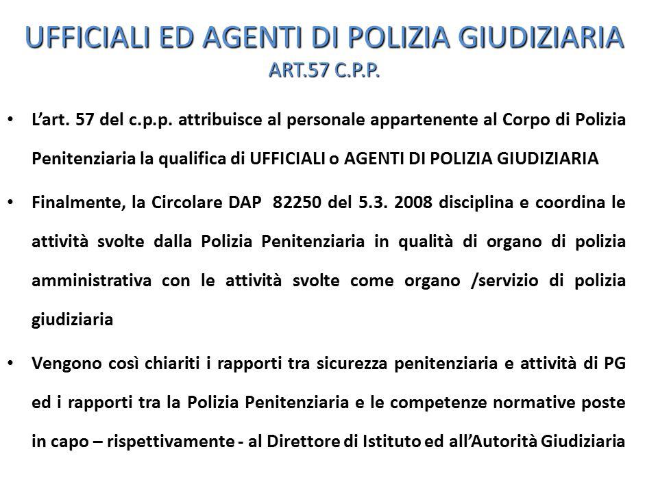 UFFICIALI ED AGENTI DI POLIZIA GIUDIZIARIA ART.57 C.P.P.