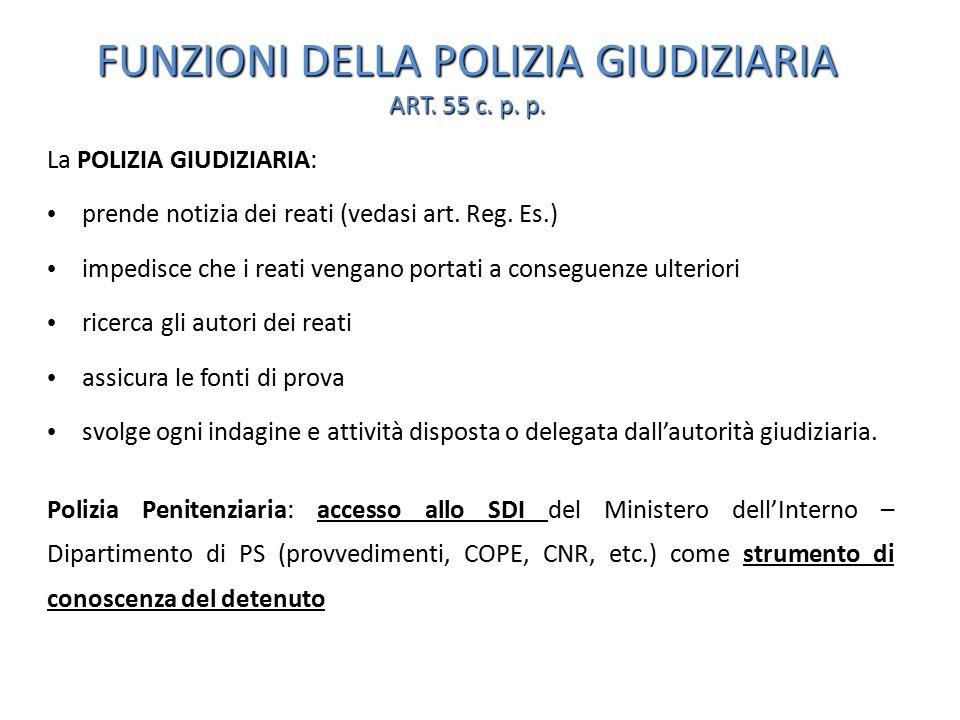 FUNZIONI DELLA POLIZIA GIUDIZIARIA ART. 55 c. p. p.