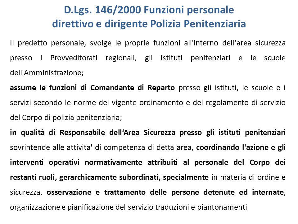 D.Lgs. 146/2000 Funzioni personale direttivo e dirigente Polizia Penitenziaria